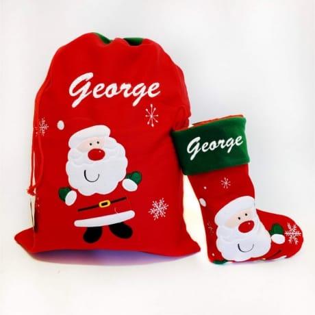 Glitter Text Red Santa Sack And Stocking Set Santa