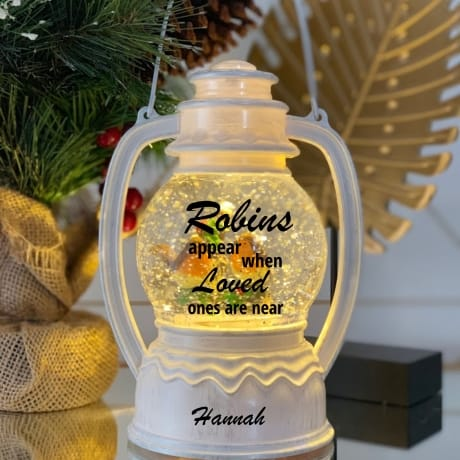 Robin Snow Globe  White - Remembrance