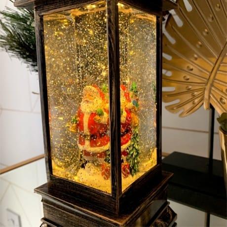 Tall Lantern Snow Globe Santa - Christmas at...