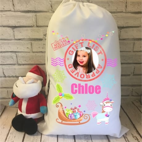 Santa sack - Unicorn theme