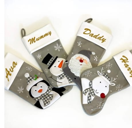 Glitter Name Grey Santa Stocking