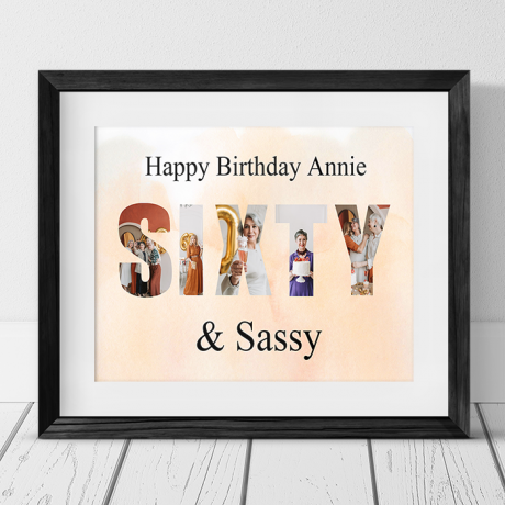 Sixty Birthday Personalised Photo Collage