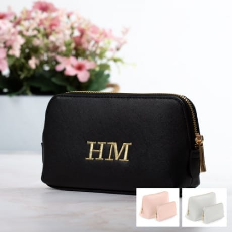 Personalised Black Luxury Wash Bag