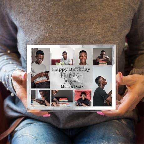 Son Birthday Collage Personalised Photo Block