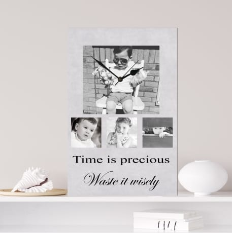Photo clock, time is precious quote, personalised gift