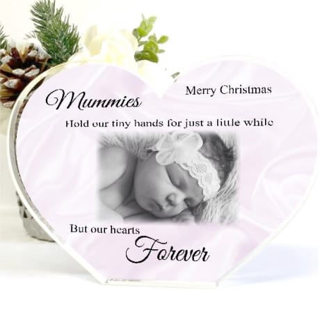Acrylic Heart Mum Christmas Photo Block - tiny hands