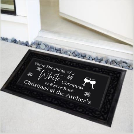Personalised Christmas Doormat White Christmas