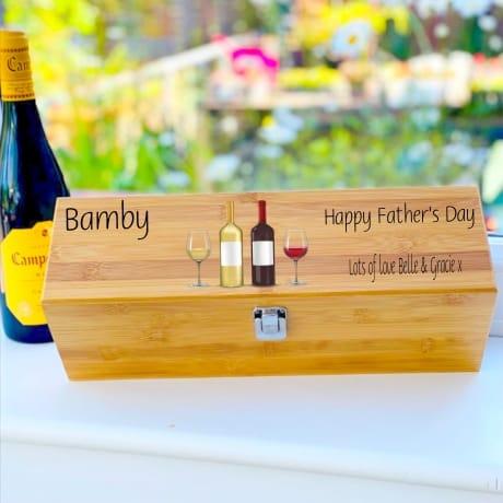 Personalised Wooden Wine Box Design 1