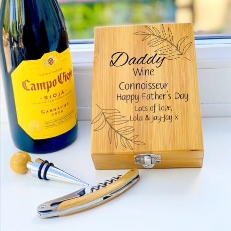 Personalised Wooden Wine Cork Gift Set Design 1