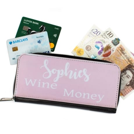 Personalised Black Purse - Wine Money